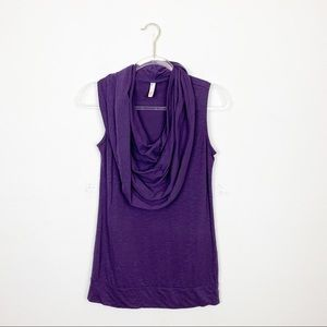 Lucy Purple Cowl Neck Athletic Tank Top Size Small